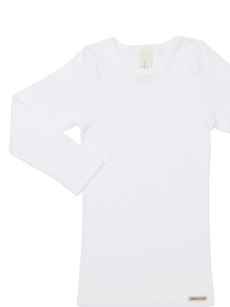 Comazo Biowäsche, Kindershirt langarm für Mädchen und Knaben in weiss - Vorderansicht
