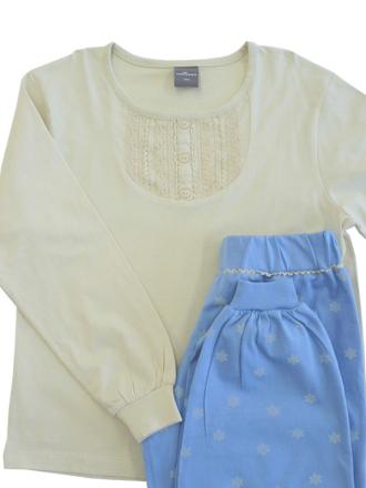 Comazo Langarm Schlafanzug für Mädchen in denim - Vorderansicht