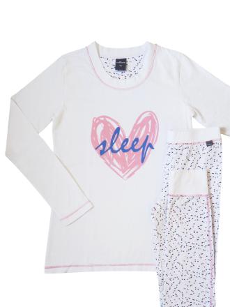 Comazo Nachtwäsche Schlafanzug für Mädchen in weiss bedruckt