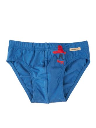 Comazo Biowäsche, Slip für Jungen in blau - Vorderansicht