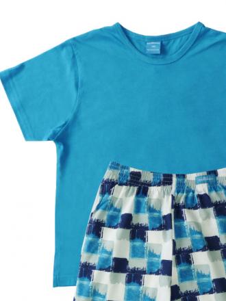 Comazo Schlafanzug kurzarm in smaragd für Jungen - Vorderansicht