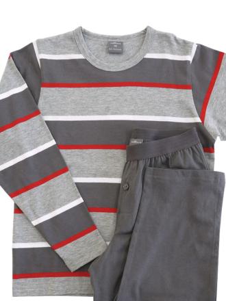 Comazo Schlafanzug in grau für Jungen - Vorderansicht