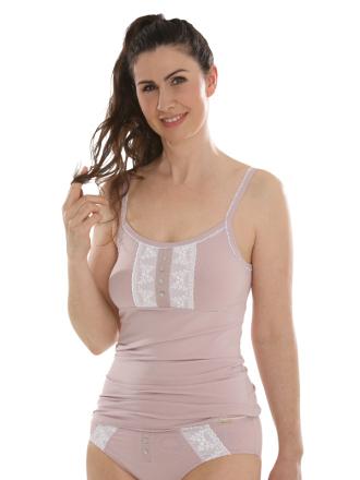 Comazo Biowäsche, Unterhemd Spaghettiträger für Damen in rosenholz - Vorderansicht