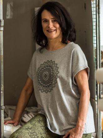 Comazo Biowäsche Damen Shirt mit Motivdruck in grau-melange