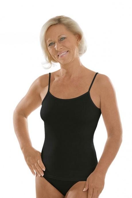 Comazo Unterwäsche, Spaghettiträger-Hemd für Damen in schwarz - Vorderansicht