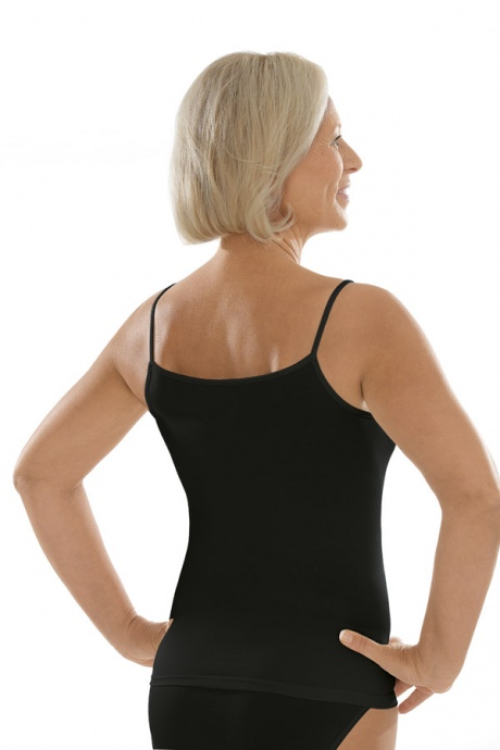 Comazo Unterwäsche, Spaghettiträger-Hemd für Damen in schwarz - Rückansicht