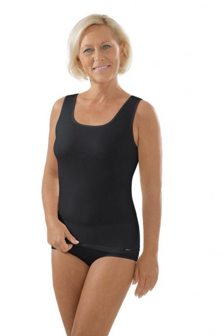 Comazo Unterwäsche, Unterhemd für Damen in schwarz - Gesamtansicht