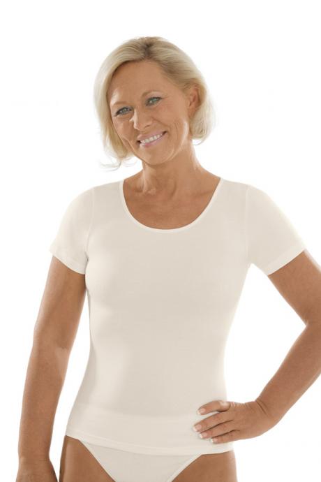Comazo Unterwäsche, Kurzarm Shirt für Damen in elfenbein - Vorderansicht