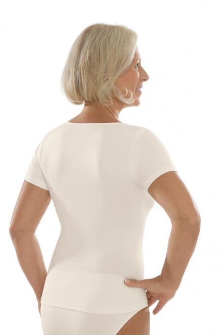 Comazo Unterwäsche, Kurzarm Shirt für Damen in elfenbein - Rückansicht