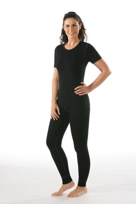 Comazo Funktionswäsche, Lange Funktionshose für Damen schwarz- Ganzkörperansicht