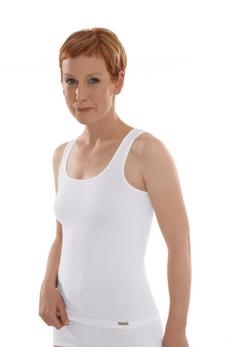 Comazo Biowäsche Unterhemd Achselträger für Damen in weiss - Vorderansicht