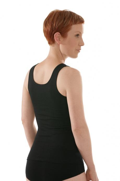 Comazo Biowäsche, Unterhemd für Damen in schwarz - Rückansicht