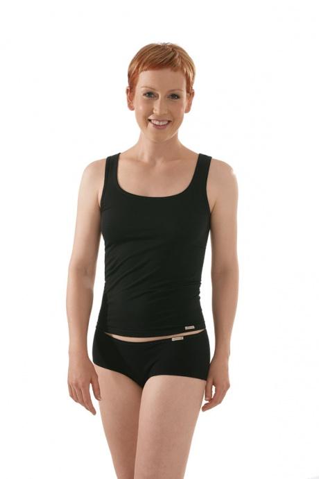Comazo Biowäsche, Unterhemd für Damen in schwarz - Gesamtansicht