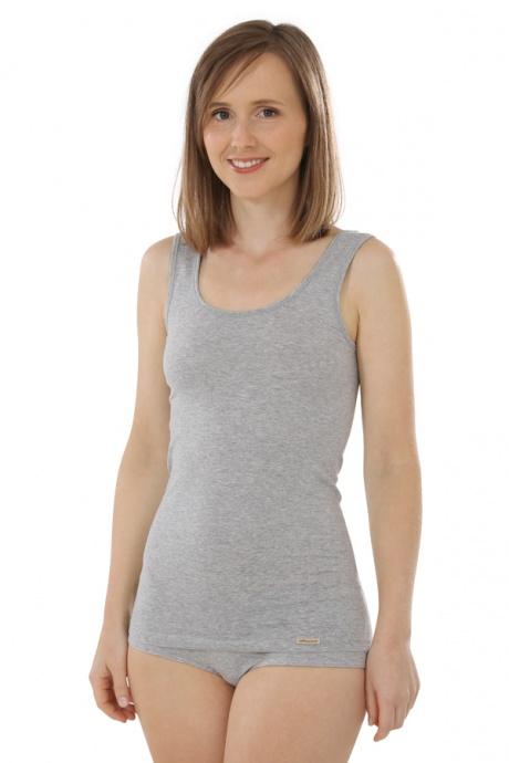 Comazo Biowäsche, Unterhemd für Damen in grau-melange - Vorderansicht