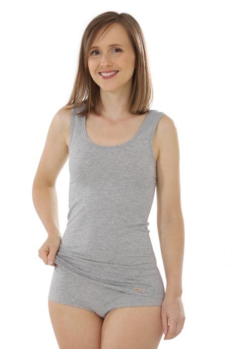 Comazo Biowäsche, Unterhemd für Damen in grau-melange - Ganzansicht