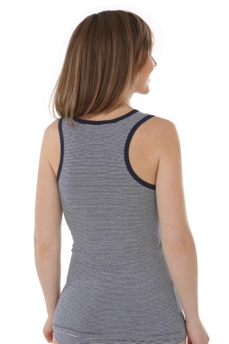 Comazo Biowäsche, Unterhemd Achselträger für Damen, marine geringelt - Rückansicht
