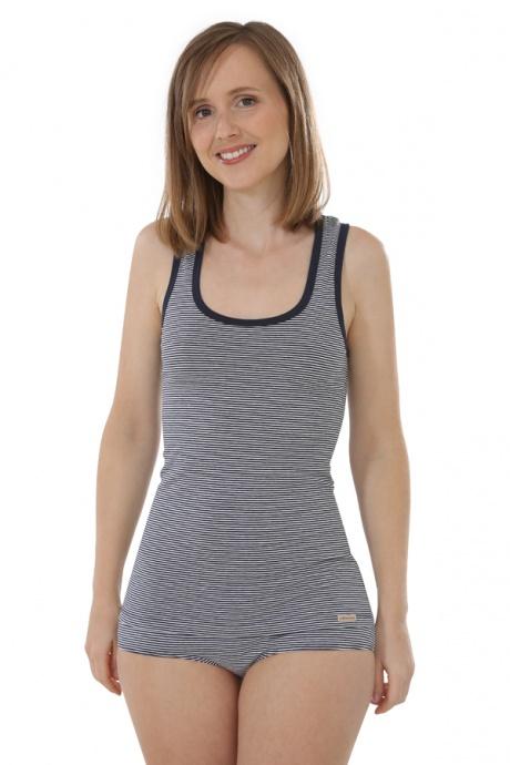 Comazo Biowäsche, Unterhemd Achselträger für Damen, marine geringelt - Gesamtansicht