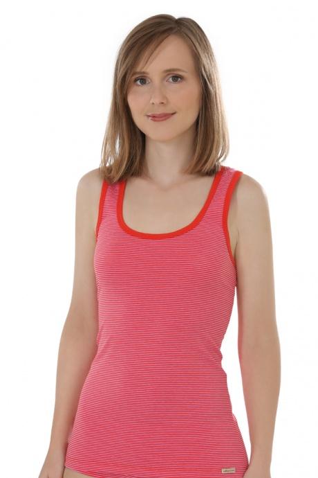 Comazo Biowäsche, Unterhemd Achselträger für Damen, tomate geringelt - Vorderansicht