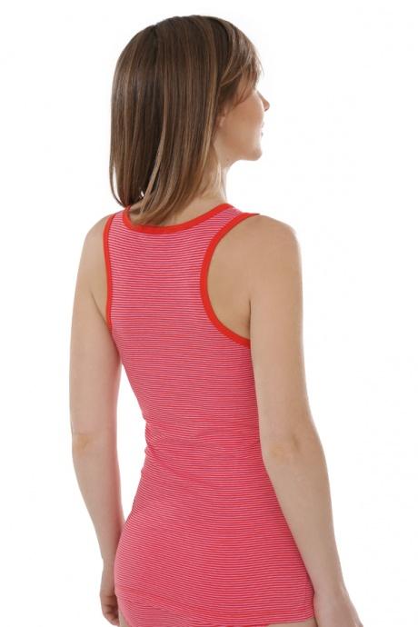 Comazo Biowäsche, Unterhemd Achselträger für Damen, tomate geringelt - Rückansicht