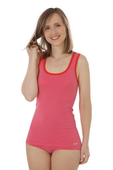 Comazo Biowäsche, Unterhemd Achselträger für Damen, tomate geringelt - Gesamtansicht