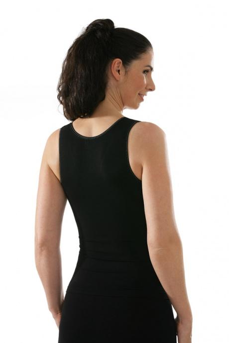 Comazo Funktionswäsche, Seamless Unterhemd für Damen in schwarz - Rückansicht