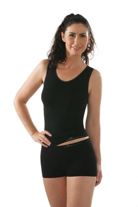 Comazo Funktionswäsche, Seamless Unterhemd für Damen in schwarz - Gesamtansicht