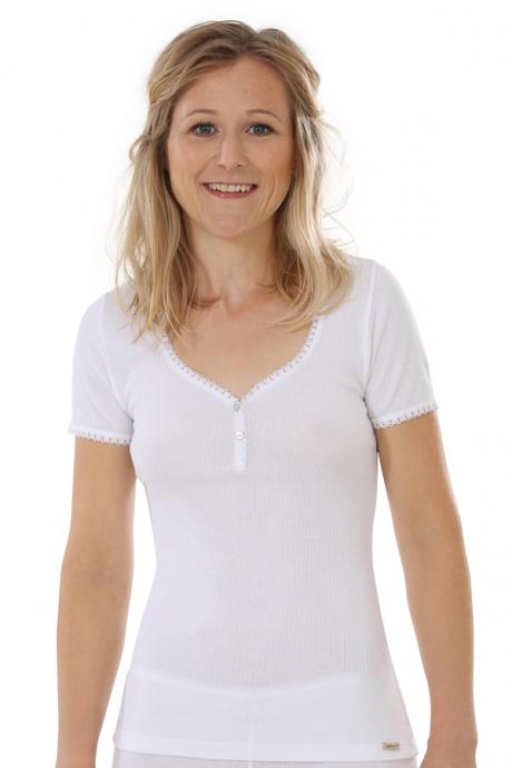 Comazo Biowäsche, kurzarm Shirt für Damen in weiss - Vorderansicht