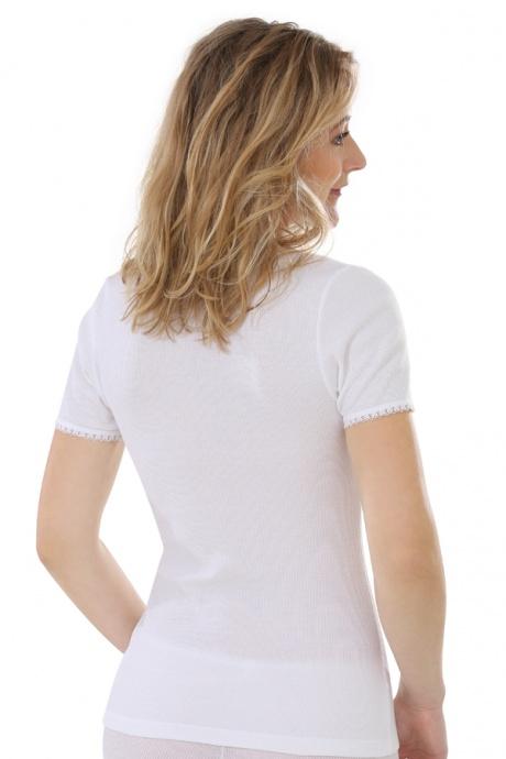 Comazo Biowäsche, kurzarm Shirt für Damen in weiss - Rückansicht