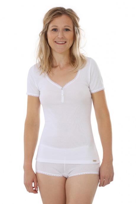 Comazo Biowäsche, kurzarm Shirt für Damen in weiss - Gesamtansicht