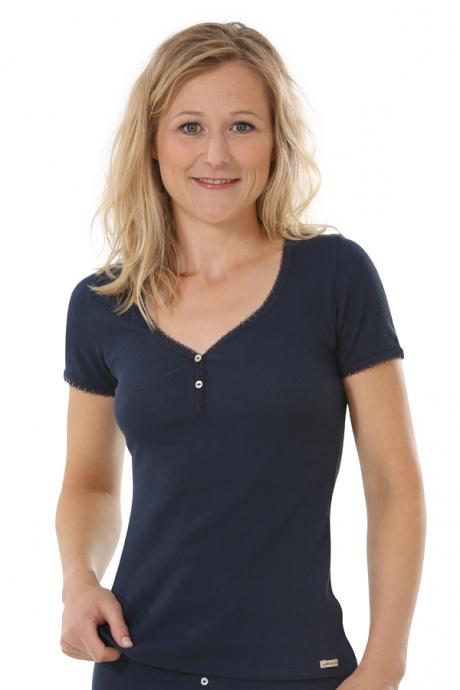 Comazo Biowäsche, kurzarm Shirt für Damen in marine - Vorderansicht