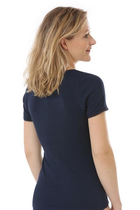 Comazo Biowäsche, kurzarm Shirt für Damen in marine - Rückansicht