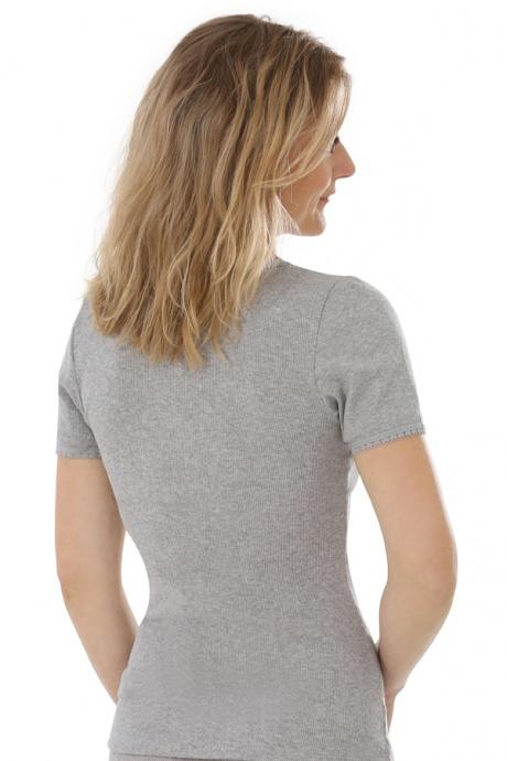Comazo Biowäsche, kurzarm Shirt für Damen in grau-melange - Rückansicht