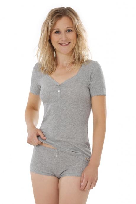 Comazo Biowäsche, kurzarm Shirt für Damen in grau-melange - Gesamtansicht