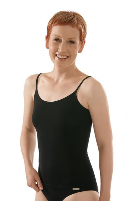 Comazo Biowäsche, Spaghettiträger-Hemd für Damen in schwarz - Vorderansicht