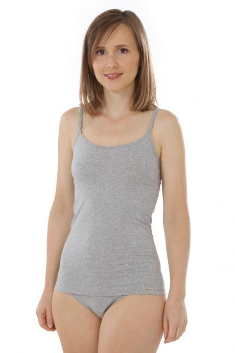Comazo Biowäsche, Spaghettiträger-Hemd für Damen in grau-melange - Vorderansicht