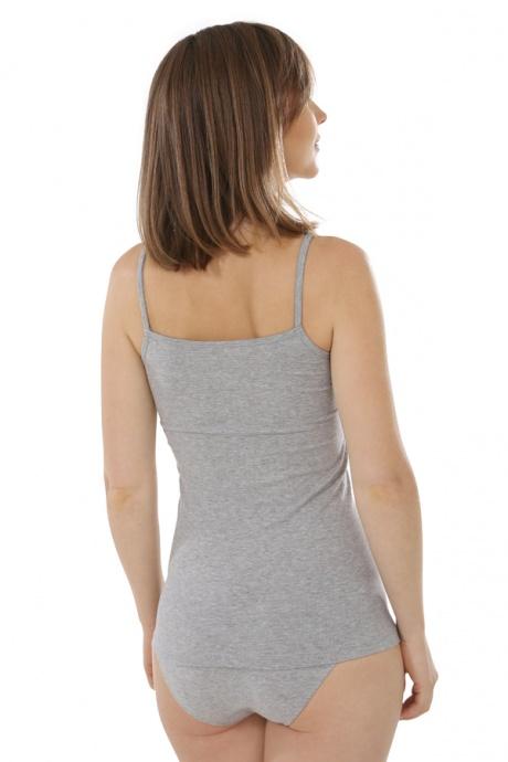Comazo Biowäsche, Spaghettiträger-Hemd für Damen in grau-melange - Rückansicht