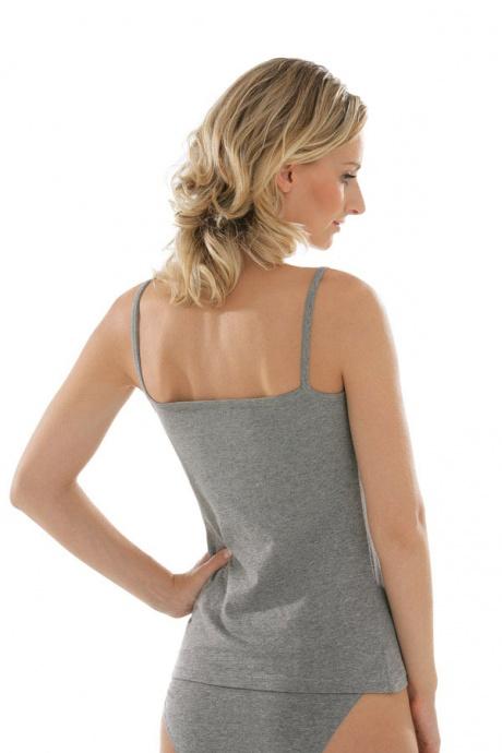 Comazo Unterwäsche Spaghettiträger-Hemd für Damen in grau-melange-Rückansicht