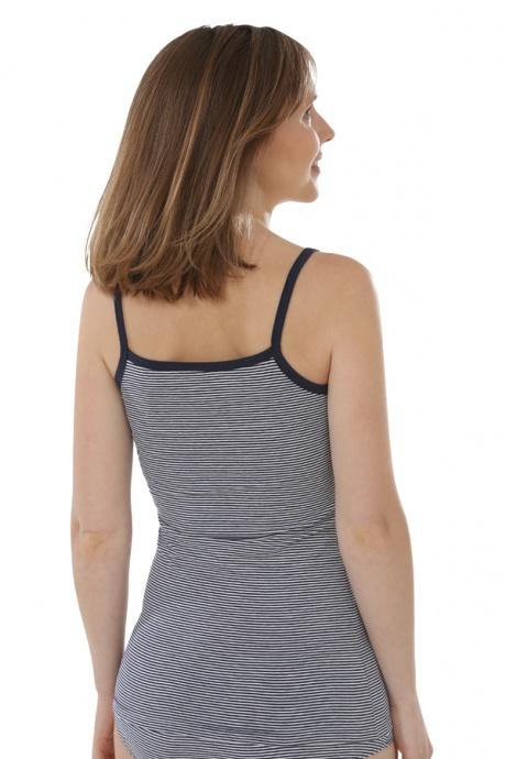 Comazo Biowäsche, Unterhemd Spaghettiträger für Damen, marine geringelt - Rückansicht