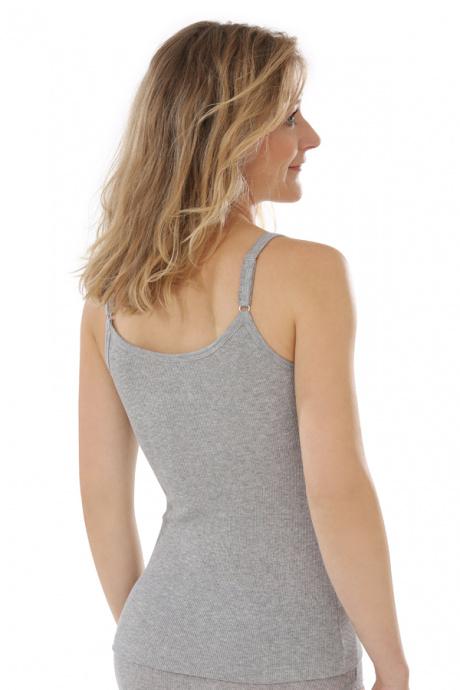 Comazo Biowäsche, Unterhemd für Damen in grau-melange - Rückansicht