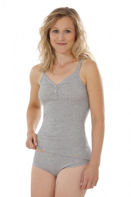 Comazo Biowäsche, Unterhemd für Damen in grau-melange - Gesamtansicht