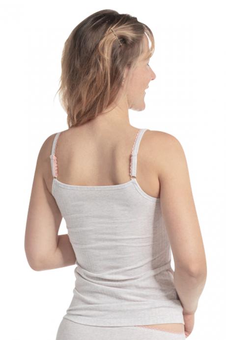 Comazo Biowäsche Damen Unterhemd Spaghettiträger in perle gestreift