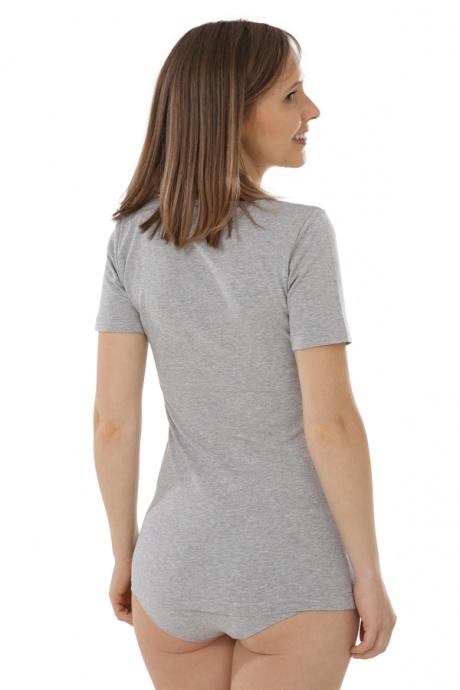 Comazo Biowäsche, Shirt für Damen in grau-melange - Rückansicht