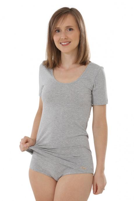 Comazo Biowäsche, Shirt für Damen in grau-melange - Gesamtansicht