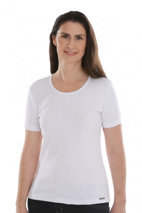 Comazo Lieblingswäsche, Basic Shirt für Damen kurzarm in Baumwolle in weiss