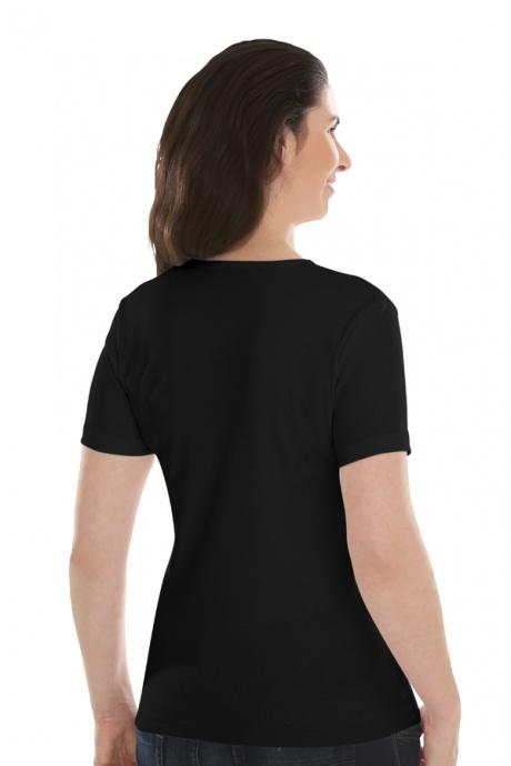 Comazo Lieblingswäsche, Basic Shirt für Damen kurzarm in Baumwolle in schwarz