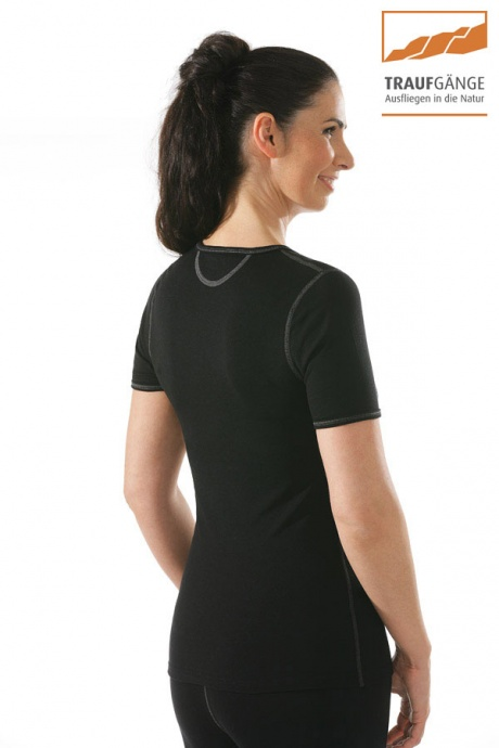 Comazo Funktionswäsche, Kurzarm Funktionsshirt für Damen schwarz - Rückansicht