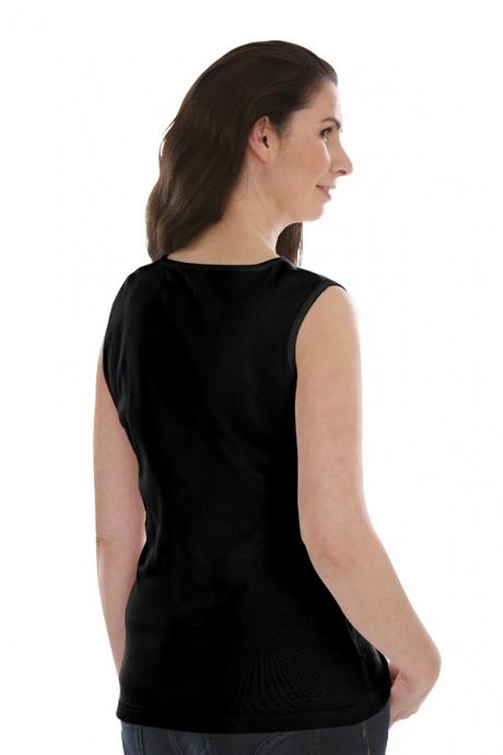 Comazo Lieblingswäsche, Basic Shirt für Damen ohne Arm in Baumwolle in schwarz