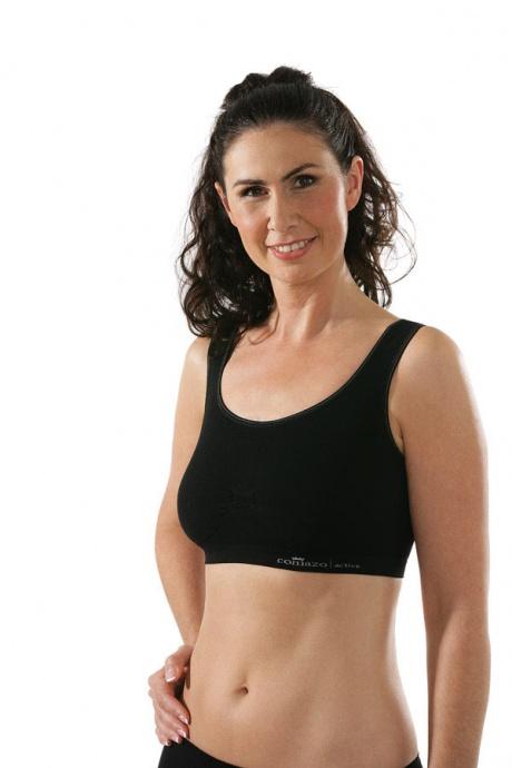 Comazo Funktionswäsche, Seamless Bustier für Damen in schwarz -Vorderansicht