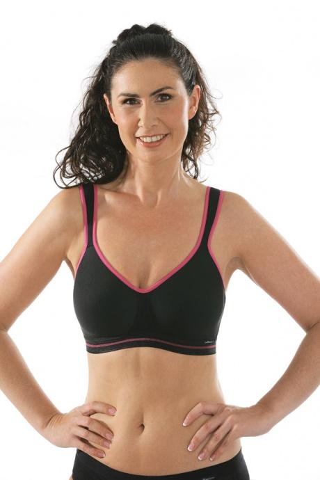 Comazo Funktionswäsche, Sport-BH für Damen in schwarz-pink - Vorderansicht