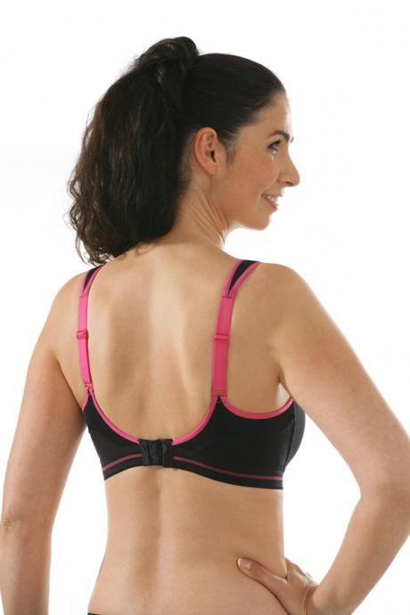 Comazo Funktionswäsche, Sport-BH für Damen in schwarz-pink - Rückansicht